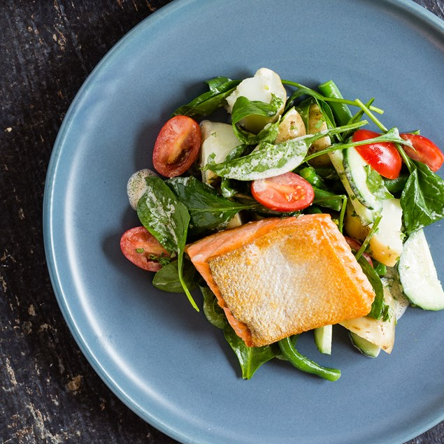 Pan-Fried Salmon with Spinach Salad