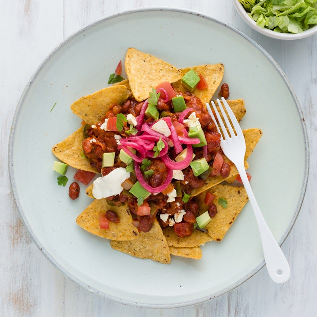Veggie Nachos with Feta and Pink Pickled Onions