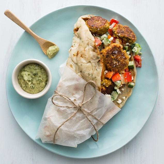 Falafel & Roasted Vegetable Naan-Wich