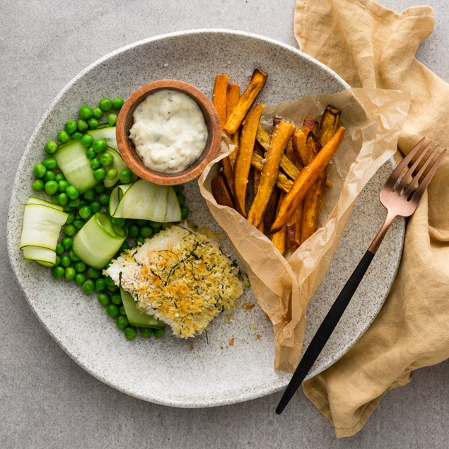 Herb Crusted Fish with Kumara Chips
