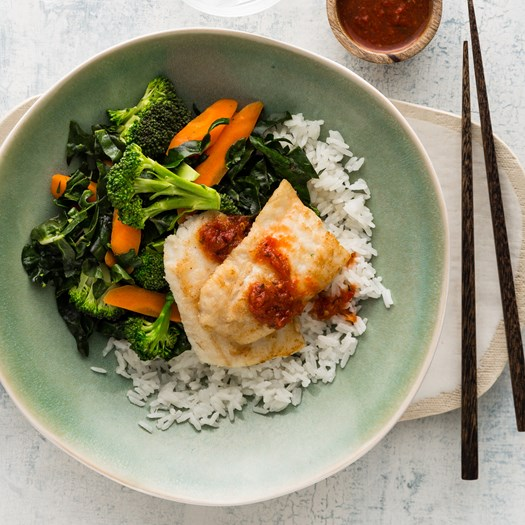 Pan-Fried Fish with Coconut Rice and Chilli Jam