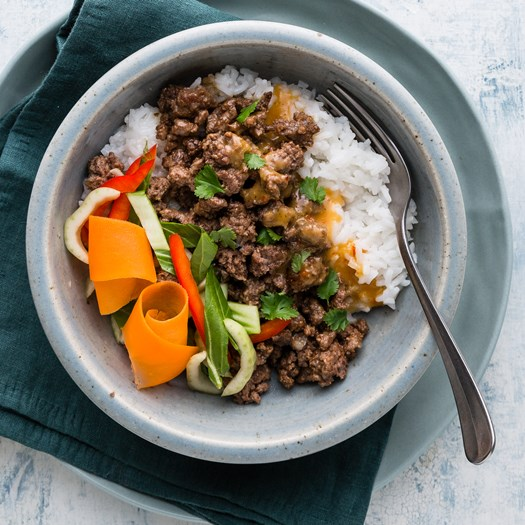 Ginger Beef with Thai Salad and Rice