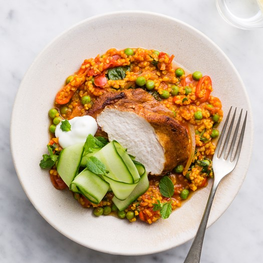 Moroccan Chicken with Tomato Coriander Bulgur