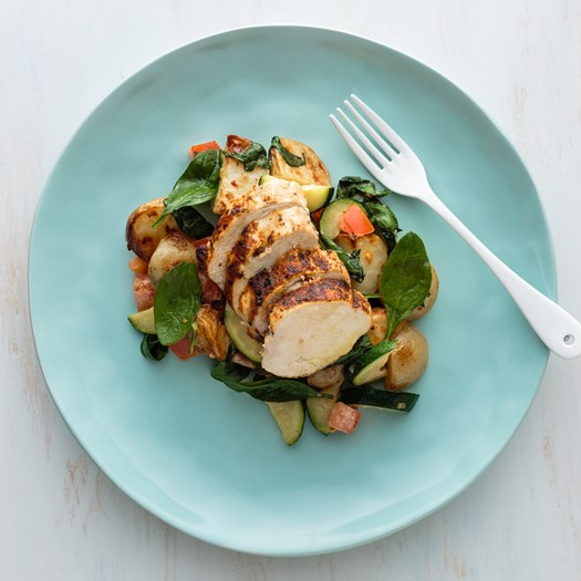 Chermoula Chicken with Roasted Potato and Courgette Salad