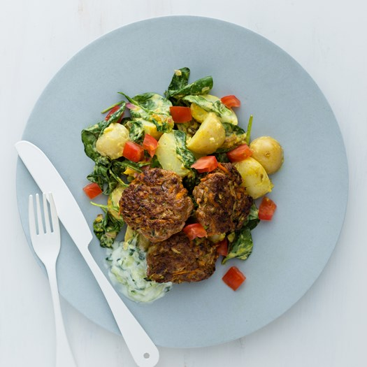 Lamb Cakes with Potato Salad and Mango Chutney
