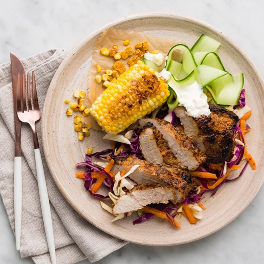 Mexican Pork with Charred Corn and Spicy Slaw