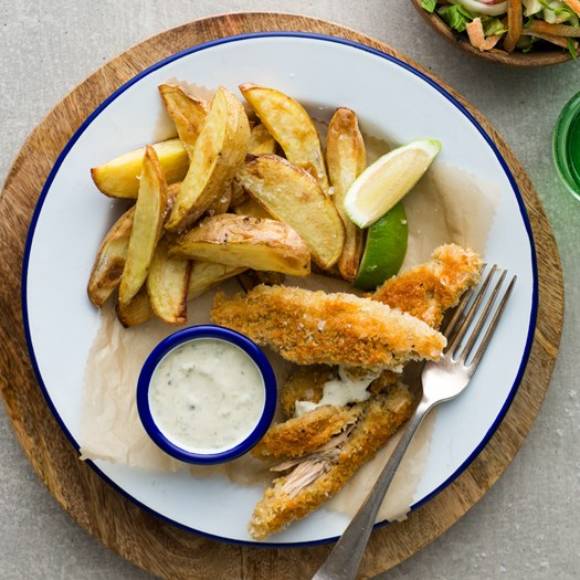 Crumbed Banana Blossoms with Wedges and Choy Slaw