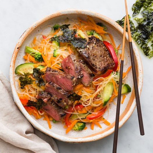 Japanese Miso Beef with Vermicelli Noodle Salad