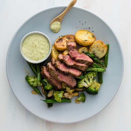 Lamb Steak with Roast Potatoes and Mint Pesto Mayo