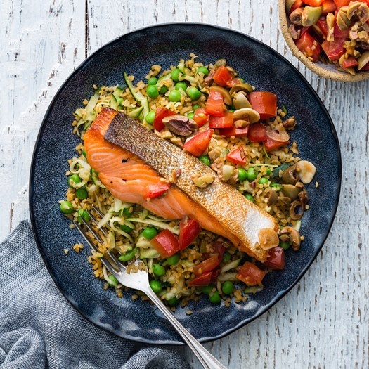 Salmon with Olive and Tomato Tapenade