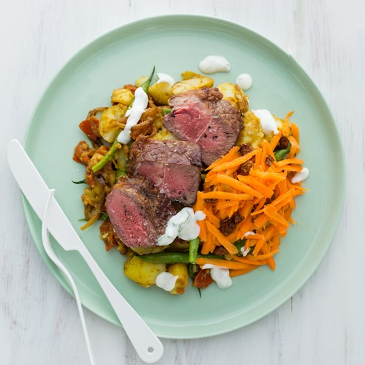 Beef Sirloin Steaks with Bombay Potatoes and Raw Carrot Relish