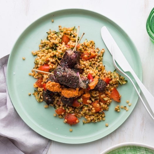 Mediterranean Beef Skewers with Quinoa Salad