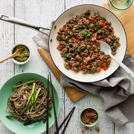 Five Spiced Beef Noodles with Asian Pesto