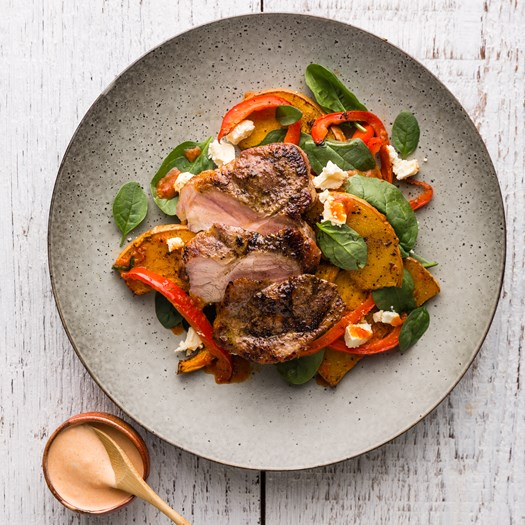 Sumac Pork with Harissa Pumpkin Salad