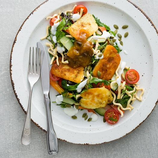 Indian-Spiced Halloumi Salad  with Mango Chutney and Crispy Noodles