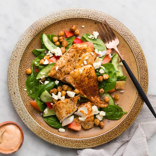 Moroccan Fish with Spiced Chickpeas and Chopped Salad