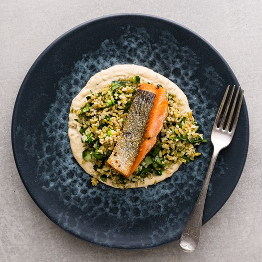 Chermoula Salmon with Smoked Almond Freekeh Salad