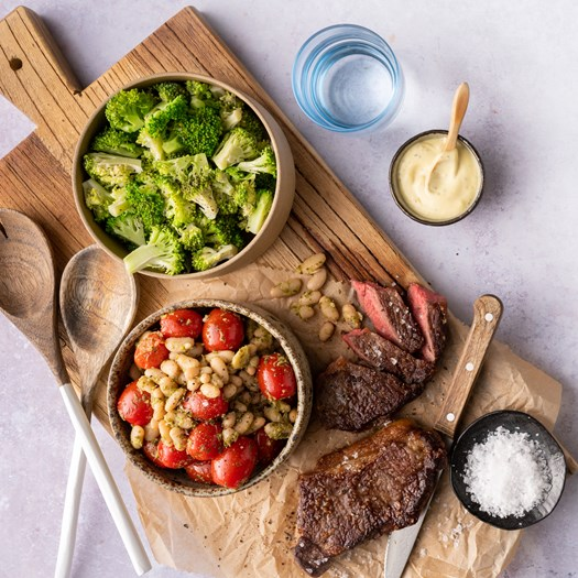 Beef Sirloin Steak with Cherry Tomatoes, Beans and Salsa Verde