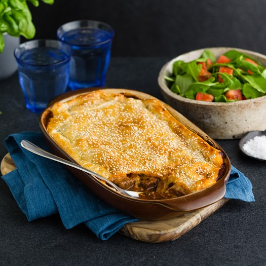 Beef and Mozzarella Pie with Tomato and Basil Salad