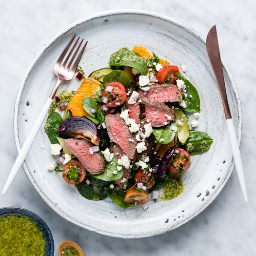 Beef Rump Steaks With Pumpkin And Tomato Salsa