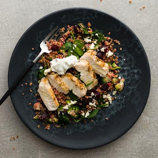 Cumin Chicken with Farro, Beetroot and Walnut Yoghurt