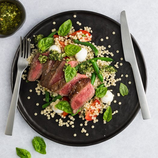 Beef Caprese with Pearl Couscous & Basil Pesto
