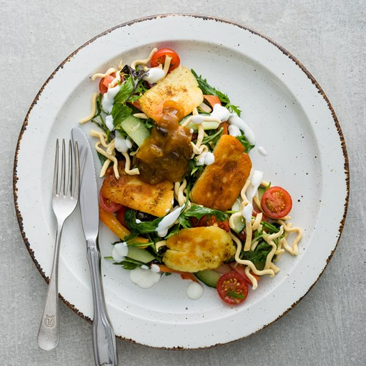 Indian Spiced Haloumi Salad with Mango Chutney and Crispy Noodles