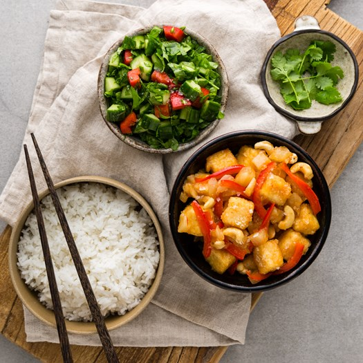 Sweet and Sour Tofu with Jasmine Rice and Salsa