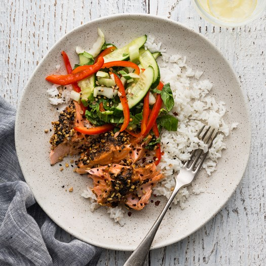 Baked Salmon with Asian Peanut Dukkah and Salad