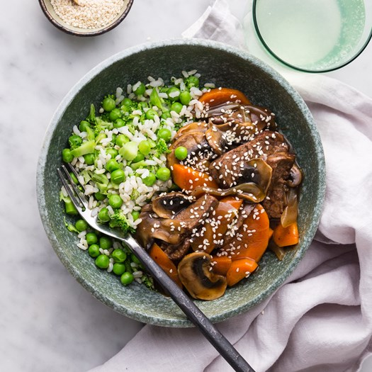 Black Bean Beef with brown rice salad