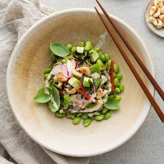 Green Tea Noodle with Edamame, Avocado and Nori Salad