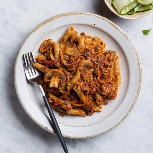 Beef and Mushroom Bolognese with pulse pasta