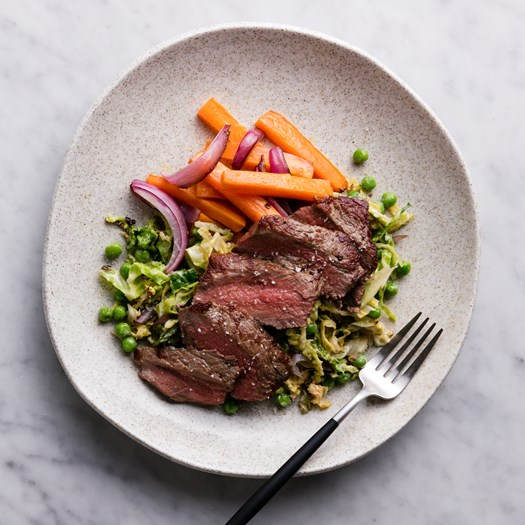 Beef Sirloin Steaks with Roasted Vegetables and Truffle Salt