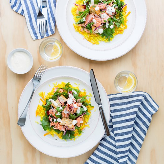 Flaked Salmon Salad with Baked Rice