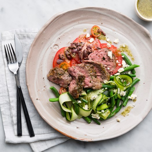 Lamb Rump Steaks with Tomato Salad and Herb Vinaigrette