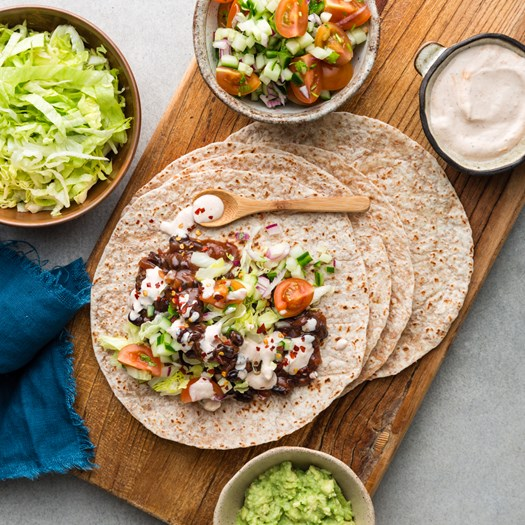 Mexican Black Bean Wraps with Tomato Salsa and Chipotle Crema