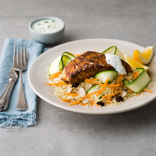 Vindaloo-Spiced Fish with Carrot Salad and Yoghurt