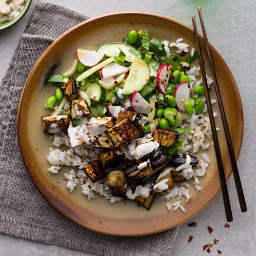 Roasted Eggplant with Sesame Rice and Moromi Miso