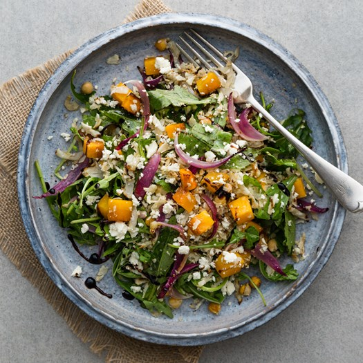 Autumnal Cauliflower and Pumpkin Salad with Feta and Pepitas